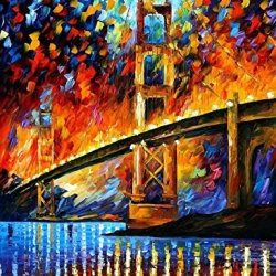 "Palette Knife Oil Painting San Francisco, Golden Gate Painting On Canvas Size: 36"" X 48"" Unframed For Livingroom/Bedroom/Bathroom/Closet"