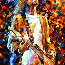 Kurt Cobain-Palette Knife Figure Oil Painting On Canvas-Size: 30Inches X 40Inches Unframed For Livingroom/Bedroom/Bathroom/Closet
