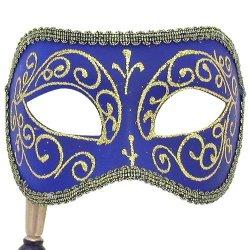 Blue Diamond Venetian Masquerade Mask On Stick