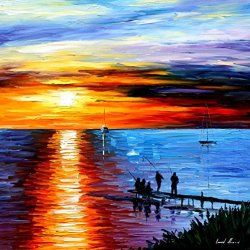 Fine Art Painting Superb Quality And Craftsmanship On Canvas Palette Knife Fishing With Friends 30 X 30 In Unframed
