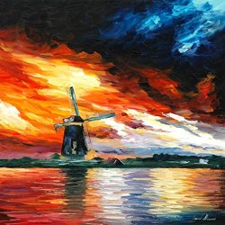 100% Oil Painting Unframed Windmill, Holland Home Decoration Modern Knife Painting On Canvas 24 X 24 In 60 X 60 Cm