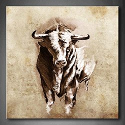 Spanish Bull Dangerous Bull With Beaked Horns Wall Art Painting The Picture Print On Canvas Animal Pictures For Home Decor Decoration Gift (Stretched By Wooden Frame,Ready To Hang)