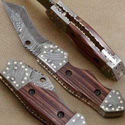 Custom Made Damascus Steel Folding Pocket Knife (Liner Lock) Z-1905