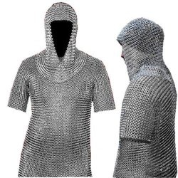 Medieval Chain Mail Shirt And Coif Armor Set (Full Size) Fit Upto 3Xl Long Shirt