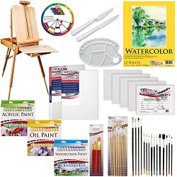 "Us Art Supply® 118-Piece Custom Artist Painting Kit With Coronado Sonoma Easel, 24-Tubes Acrylic Colors, 24-Tubes Oil Painting Colors, 24-Tubes Watercolor Painting Colors, 2-Each 16""X20"" Artist Quality Stretched Canvases, 6-Each 11""X14"" Canvas Panels, 11"""