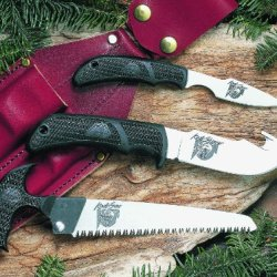 Outdoor Edge Kodi-Pak  Kp-1 Caper Gut-Hook Skinner Saw Combo With Leather Belt Sheath