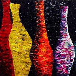 Palette Knife Colorful Bottle 9X12 In/22.5X30Cm Art Living Room Wall Decor Oil Painting On Canvas Modern Art Unframed
