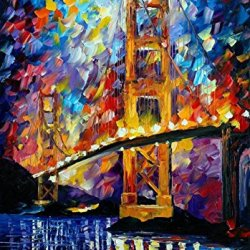 Modern Art Canva City Bridge Painting Knife Paintng Wall Art Canvas Unframed Painting 20X30In/50X75Cm