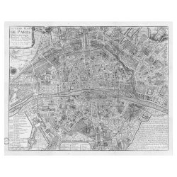 Swag Paper Swag Paper Map Of 1705 Huitieme Plan De Paris Self-Adhesive Wallpaper, Black & White, Matte Self Adhesive Poly-Woven Fabric, 6W X 4.8H Ft.