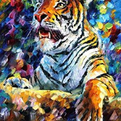 Decorative Room (Unframe And Unstretch) 100% Hand-Painted Palette Knife Oil Painting On Canvas,Tiger,30 X 40 Inch