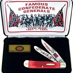 Case Cutlery Cat-Fg/Rpb Case'S Cival War General Pick Bone Handle Trapper Pocket Knife With Tru Sharp Surgical Steel Blades, Red
