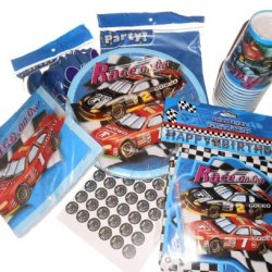 Boys Car Racing Party Supplies - Plates, Napkins, Silverware, Cups, Banner, Tablecover & Hershey Kiss Labels