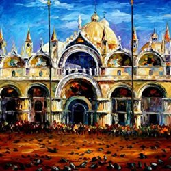 100% Oil Painting Unframed Venice, Pigeons On San Marco Square Home Decoration Modern Knife Painting On Canvas 30 X 40 In 75 X 100 Cm