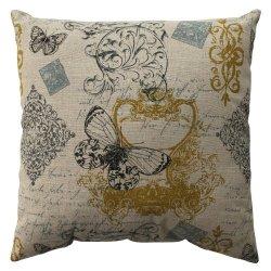 "16.5"" Blue Butterfly Fleur Di Lis Decorative Throw Pillow"