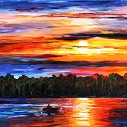 Fine Art Painting Superb Quality And Craftsmanship On Canvas Palette Knife Fishting By The Sunset 30 X 40 In Unframed