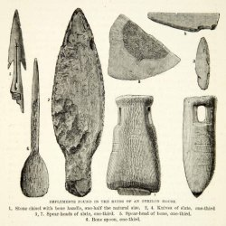 1882 Wood Engraving Archaeology Stone Implements Onkilon Native Siberia Russia - Original In-Text Wood Engraving