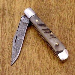 """Ram Horn 5.3"""" Handmade Damascus Steel Folding Pocket Knife"""