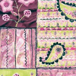 Decopatch Decoupage Paper Mache - Pink Lime Vintage Patchwork 412