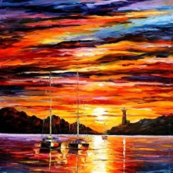 Palette Knife Paintings Hand Painted Oil Paintings On Canvas Wall Artwork And Make Your Home Look More Cool (By The Entrance Of The Harbor) - 30 X 36 Inch , Unframed