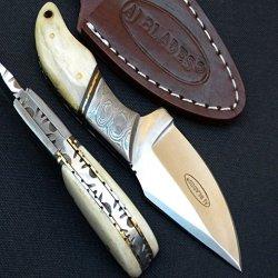 Aj101 Custom Knife | Camel Bone Handle | Damascus Bolster | Stainless Steel