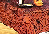Halloween Spiderweb Spiders Lace Tablecloth and Liner Set - Orange Black 70 in Round