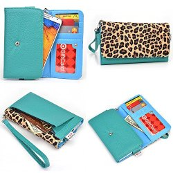 Doogee Dagger Dg550 Smartphone Wallet Case {Aqua Green And Leopard Print / Electric Blue Interior} - Universal Women'S Wristlet + Nextdia Velcro Strap