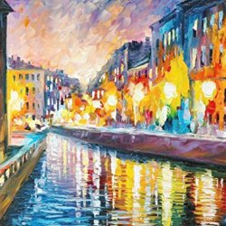City Night Art Wall Decorative Canvas Knife Paintng On Canvas 32X24In/80X60Cm Unframed