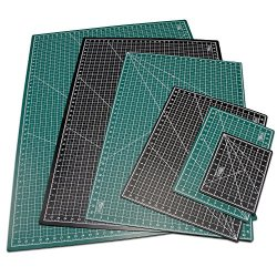"""Us Art Supply® 24"""" X 36"""" Green/Black Professional Self Healing 5-Ply Double Sided Durable Non-Slip Pvc Cutting Mat Great For Scrapbooking, Quilting, Sewing And All Arts & Crafts Projects (Choose Green/Black Or Pink/Blue Below)"""