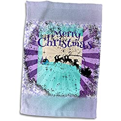 3dRose Beverly Turner Christmas Design - Santa and Reindeer Pulling Sleigh, Snowflakes, Abstract, Purple, Aqua - 12x18 Towel (twl_233579_1)