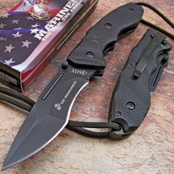 Usmc Marines Lanyard Tactical Folding Pocket Knife Black G10 New