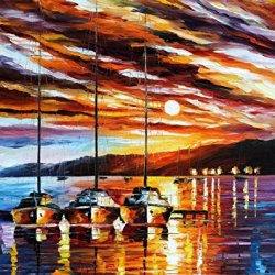 Fine Art In Expectation Of Wind On Canvas 30 X 36 In,Unframed Palette Knife Painting Modern Artwork
