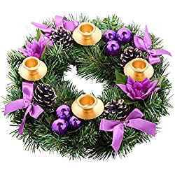Purple Ribbon Christmas Advent Wreath with 4 Disposable Taper candle holders for the candles. For Advent and X-mas Deocr Decorations