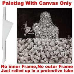 Unstretched And Unframed Canvas Wall Art For Home Decor ,Hand-Painted Knife Oil Painting, Home In Heart 27.5X27.5Inch