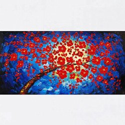 Xm Art-The Moonlight Red Tree Palette Knife Landscape Oil Painting On Canvas Wall Art Deco Home Decoration(Unstretch And No Frame)