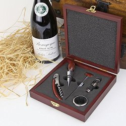 Wineophile Wood Wine Kit W/ Corkscrew, Stopper, Decanter, Collar, Thermometer (Msrp:$22.50)