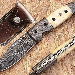 Bikers Damascus Steel Folding Knife With Bone Handle