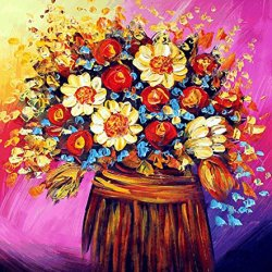 Xm Art-The Only Bamboo Vase Palette Knife Landscape Oil Painting On Canvas Wall Art Deco Home Decoration(Unstretch And No Frame)