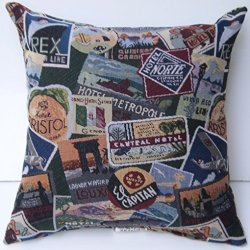 "Travel Destinations Tapestry 16""X16"" Decorative Throw Pillow; Fully Assembled And Stuffed In The U.S.A; Clearance Sale"