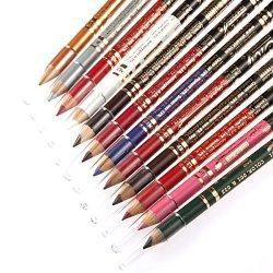 Boerma 12Pcs Double Knife Plane Waterproof Eyeliner, Eyebrow Pencil, Eye Shadow Cosmetic Makeup Tool