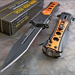Tac-Force Speed Assisted Opening Emt Orange Seat Belt Glass Breaker Rescue Knife
