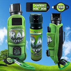 Trail Saver - 4Oz Pepper Spray For Hiking - Complete Safety Package With Compass, Led Light, Safety Whistle And Climbing Clip