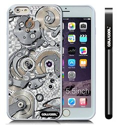 Cowcool® Apple Iphone 6 Plus [5.5 Inch] Soft Silicone Gear Tour Machinery White Shell Single Layer Protective Case (Style4)