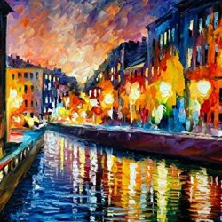 City Street Night Art Wall Decorative Canvas Knife Paintng On Canvas 32X24In/80X60Cm Unframed