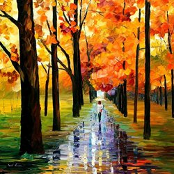 Fine Art Painting Superb Quality And Craftsmanship On Canvas Palette Knife Yellow Rain 30 X 30 In Unframed