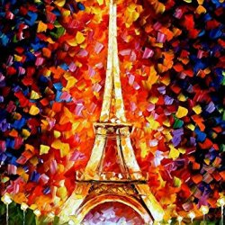 Paris, Eifel Tower Lighted Art Wall Decorative Canvas Knife Painting On Canvas 30 X 40 In 75 X 100 Cm Unframed
