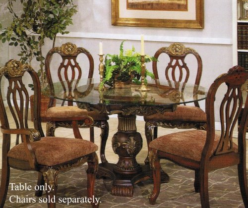 Image of Pedestal Dining Table with Glass Top Walnut Finish (VF_AM7640)
