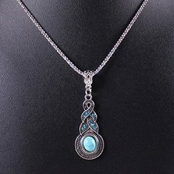 Tricess Jewelry Tibetan Silver Turquoise Charming Crystal Necklace Gift