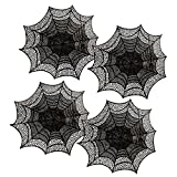 "DII Vinyl Die Cut  Placemat or Charger for Halloween, 18"" Round, Spider Web , Set of 4"