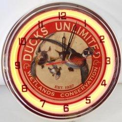 "Ducks Unlimited 15"" Neon Lighted Wall Clock Metal Sign Orange"