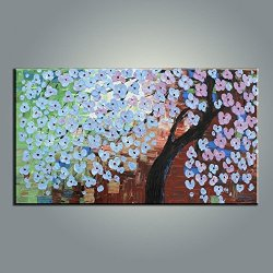 Palette Knife Fine Art Painting On Canvas,Modern Wall Art Flower And Tree 10X20 In/25X50Cm Unframed